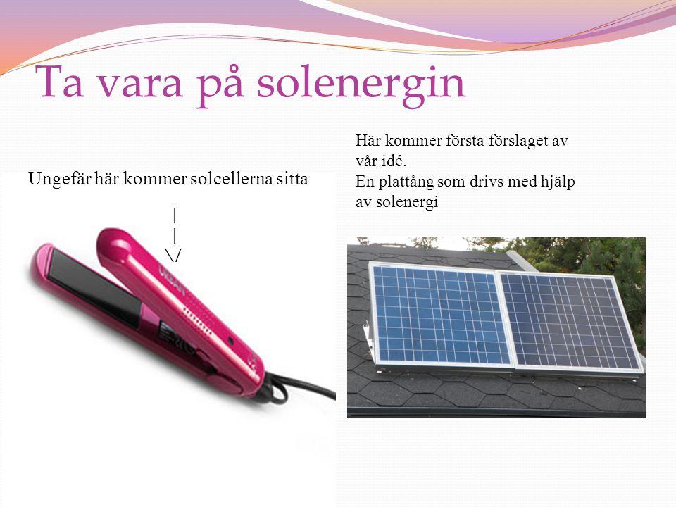 Ta vara på solenergin Ungefär här kommer solcellerna sitta | \/ Här kommer första förslaget av vår idé.