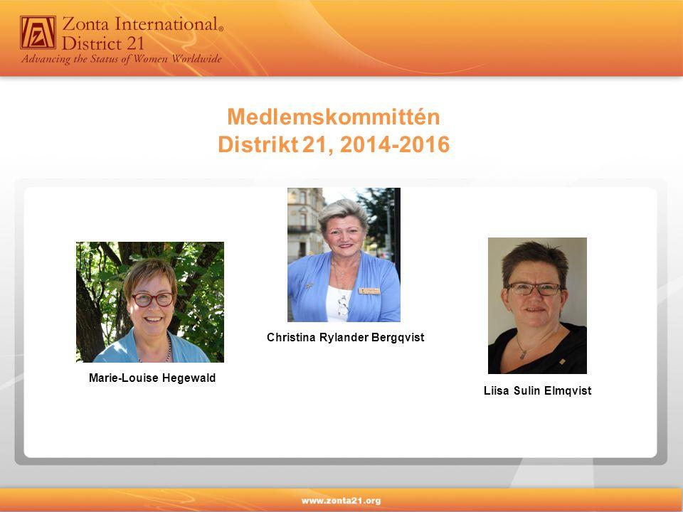 Medlemskommittén Distrikt 21, 2014-2016 Christina Rylander Bergqvist Marie-Louise Hegewald Liisa Sulin Elmqvist