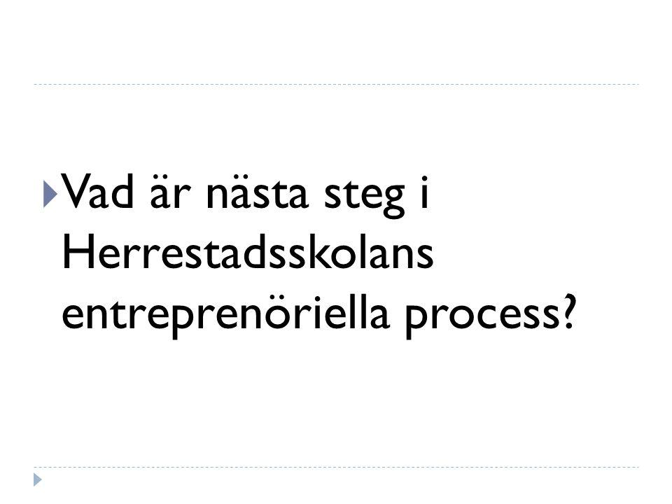  Vad är nästa steg i Herrestadsskolans entreprenöriella process?