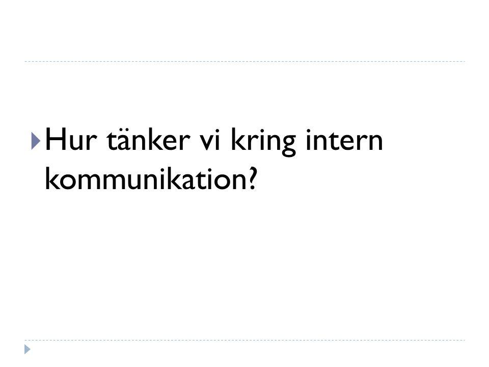  Hur tänker vi kring intern kommunikation?