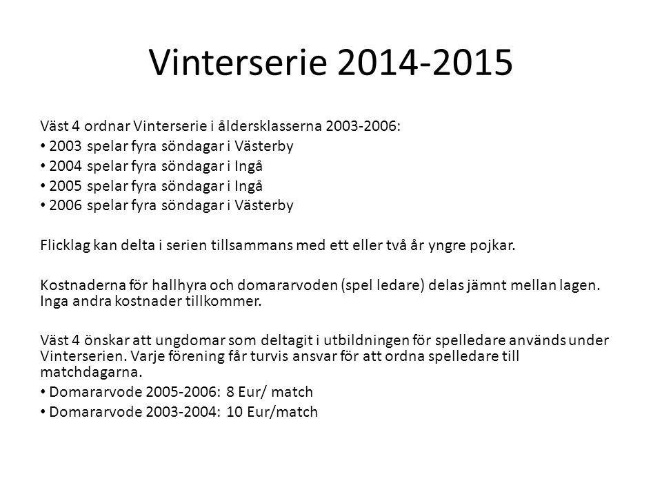 Vinterserie 2014-2015 Väst 4 ordnar Vinterserie i åldersklasserna 2003-2006: 2003 spelar fyra söndagar i Västerby 2004 spelar fyra söndagar i Ingå 2005 spelar fyra söndagar i Ingå 2006 spelar fyra söndagar i Västerby Flicklag kan delta i serien tillsammans med ett eller två år yngre pojkar.