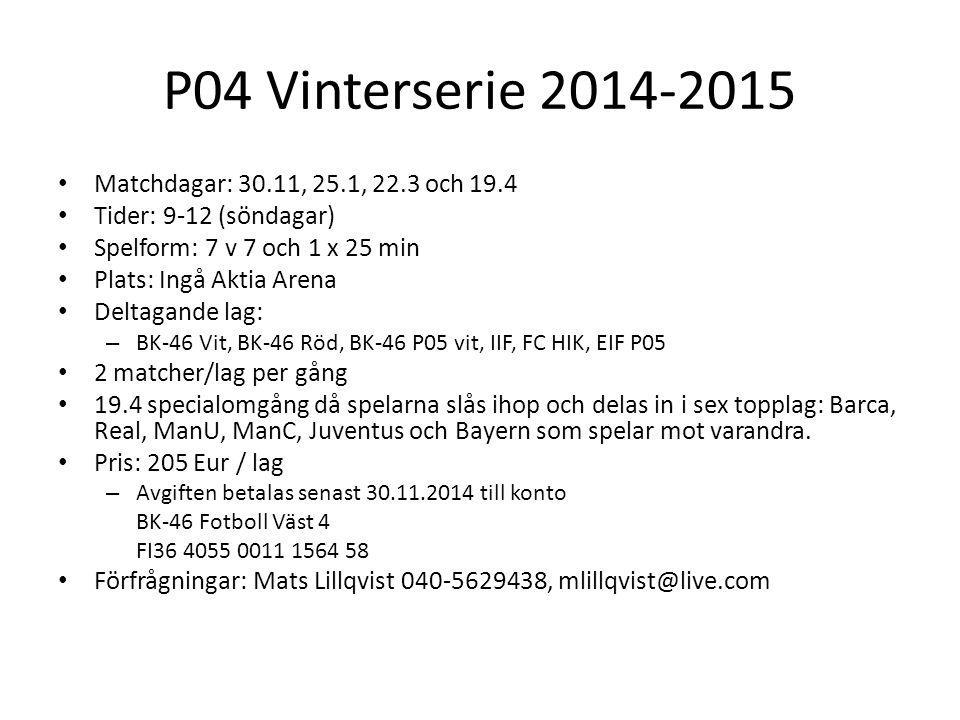 P04 Vinterserie 2014-2015 Matchdagar: 30.11, 25.1, 22.3 och 19.4 Tider: 9-12 (söndagar) Spelform: 7 v 7 och 1 x 25 min Plats: Ingå Aktia Arena Deltagande lag: – BK-46 Vit, BK-46 Röd, BK-46 P05 vit, IIF, FC HIK, EIF P05 2 matcher/lag per gång 19.4 specialomgång då spelarna slås ihop och delas in i sex topplag: Barca, Real, ManU, ManC, Juventus och Bayern som spelar mot varandra.