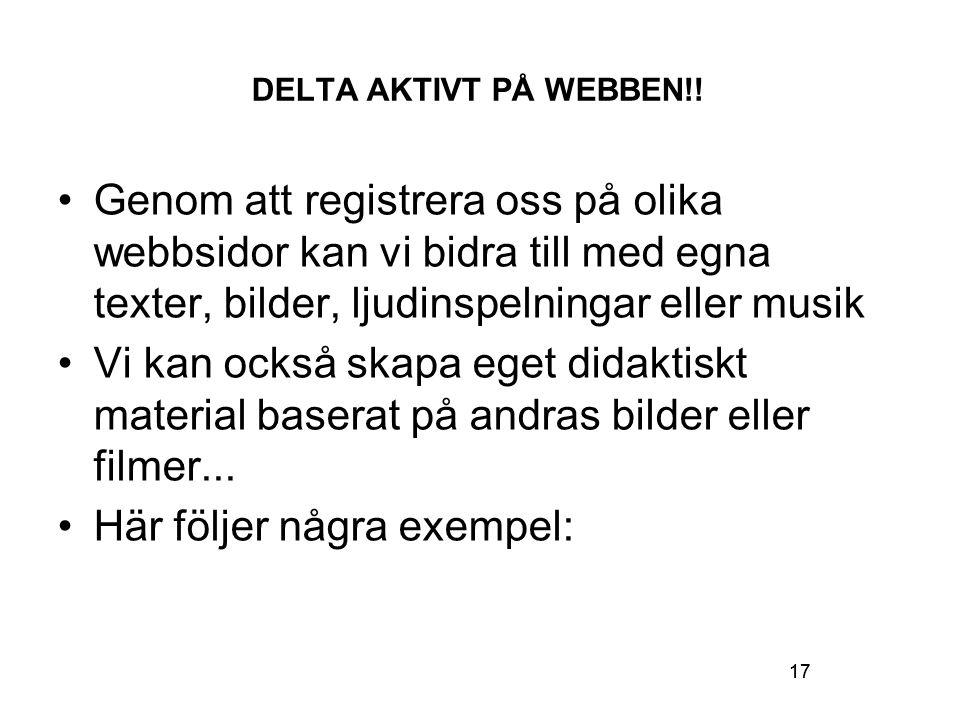 17 DELTA AKTIVT PÅ WEBBEN!.