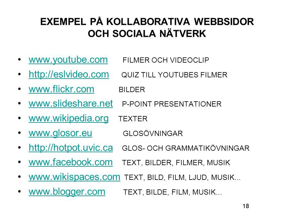 18 EXEMPEL PÅ KOLLABORATIVA WEBBSIDOR OCH SOCIALA NÄTVERK www.youtube.com FILMER OCH VIDEOCLIPwww.youtube.com http://eslvideo.com QUIZ TILL YOUTUBES FILMERhttp://eslvideo.com www.flickr.com BILDERwww.flickr.com www.slideshare.net P-POINT PRESENTATIONERwww.slideshare.net www.wikipedia.org TEXTERwww.wikipedia.org www.glosor.eu GLOSÖVNINGARwww.glosor.eu http://hotpot.uvic.ca GLOS- OCH GRAMMATIKÖVNINGARhttp://hotpot.uvic.ca www.facebook.com TEXT, BILDER, FILMER, MUSIKwww.facebook.com www.wikispaces.com TEXT, BILD, FILM, LJUD, MUSIK...www.wikispaces.com www.blogger.com TEXT, BILDE, FILM, MUSIK...www.blogger.com 18