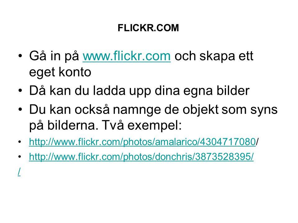 FLICKR.COM Gå in på www.flickr.com och skapa ett eget kontowww.flickr.com Då kan du ladda upp dina egna bilder Du kan också namnge de objekt som syns på bilderna.