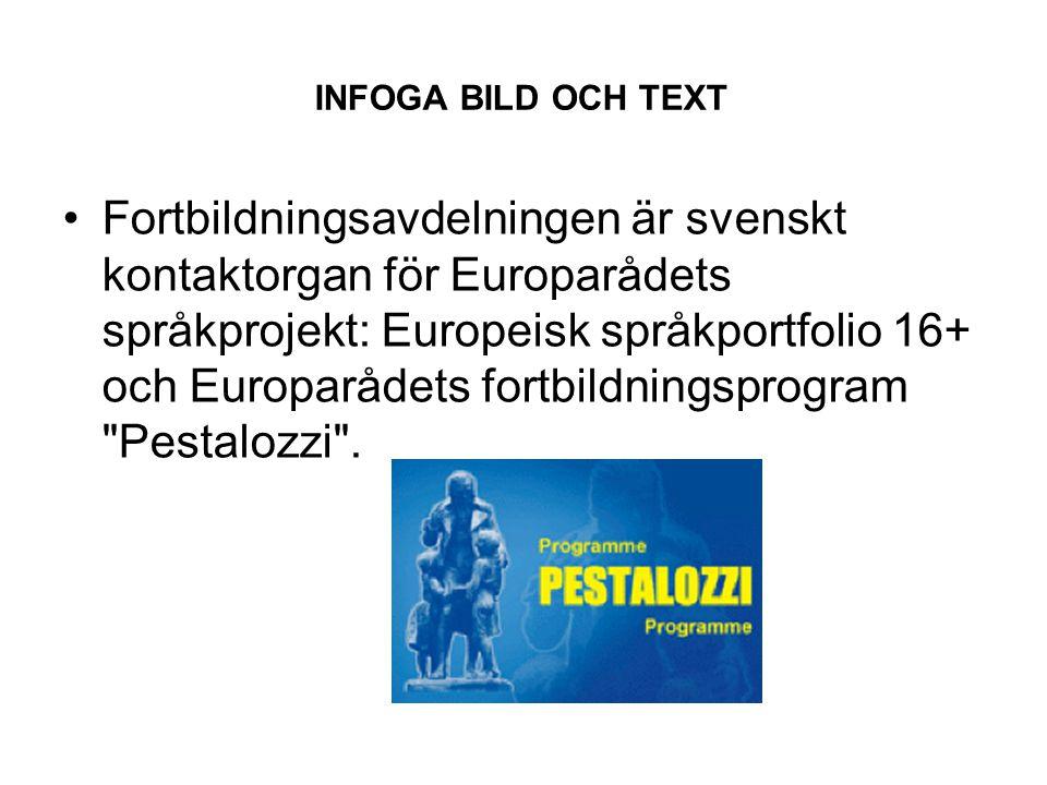 INFOGA BILD OCH TEXT Fortbildningsavdelningen är svenskt kontaktorgan för Europarådets språkprojekt: Europeisk språkportfolio 16+ och Europarådets fortbildningsprogram Pestalozzi .
