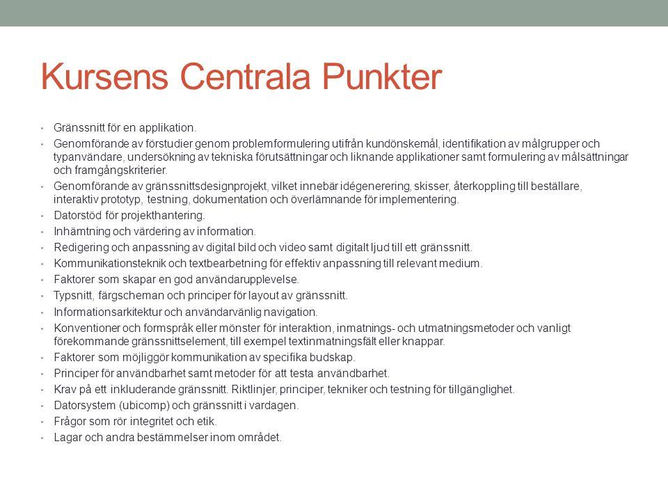 Kursens Centrala Punkter Gränssnitt för en applikation. Genomförande av förstudier genom problemformulering utifrån kundönskemål, identifikation av må
