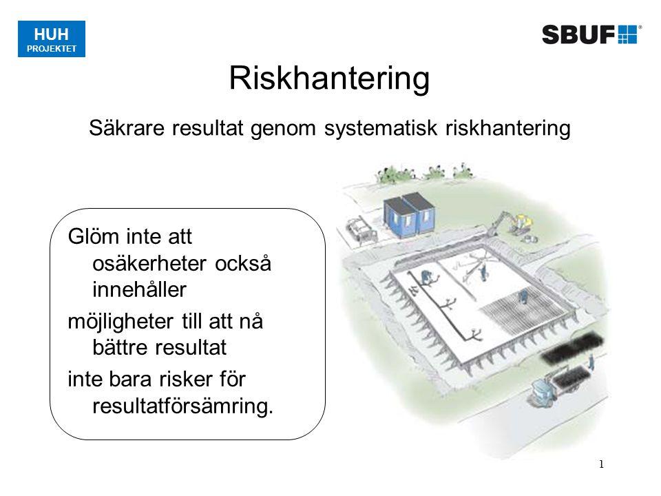 HUH PROJEKTET 1 Riskhantering Säkrare resultat genom systematisk riskhantering Glöm inte att osäkerheter också innehåller möjligheter till att nå bätt
