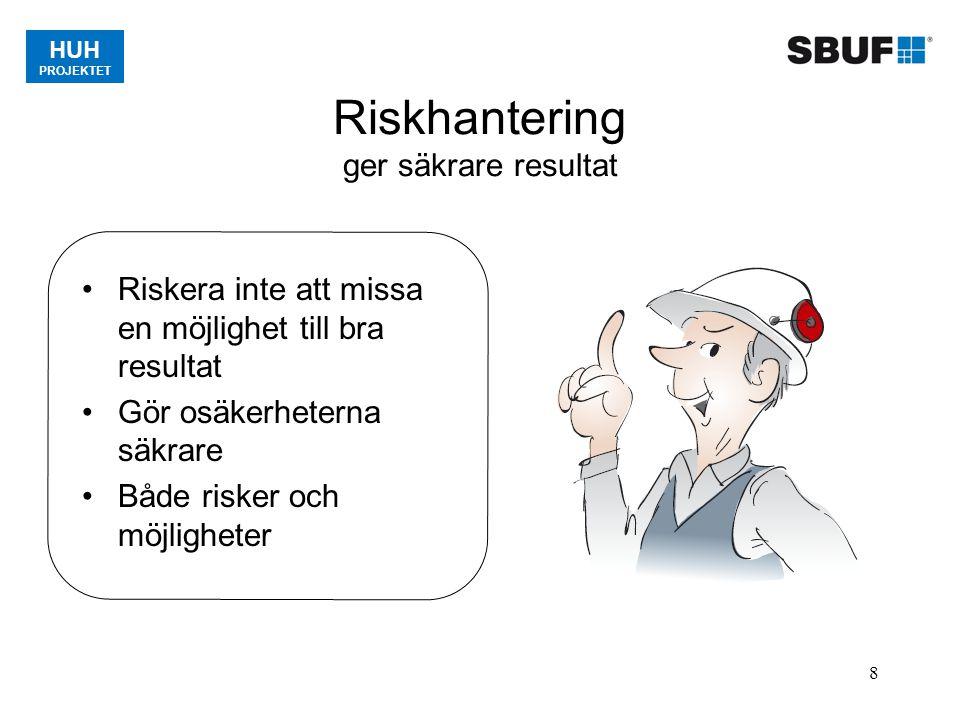 HUH PROJEKTET 8 Riskhantering ger säkrare resultat Riskera inte att missa en möjlighet till bra resultat Gör osäkerheterna säkrare Både risker och möj