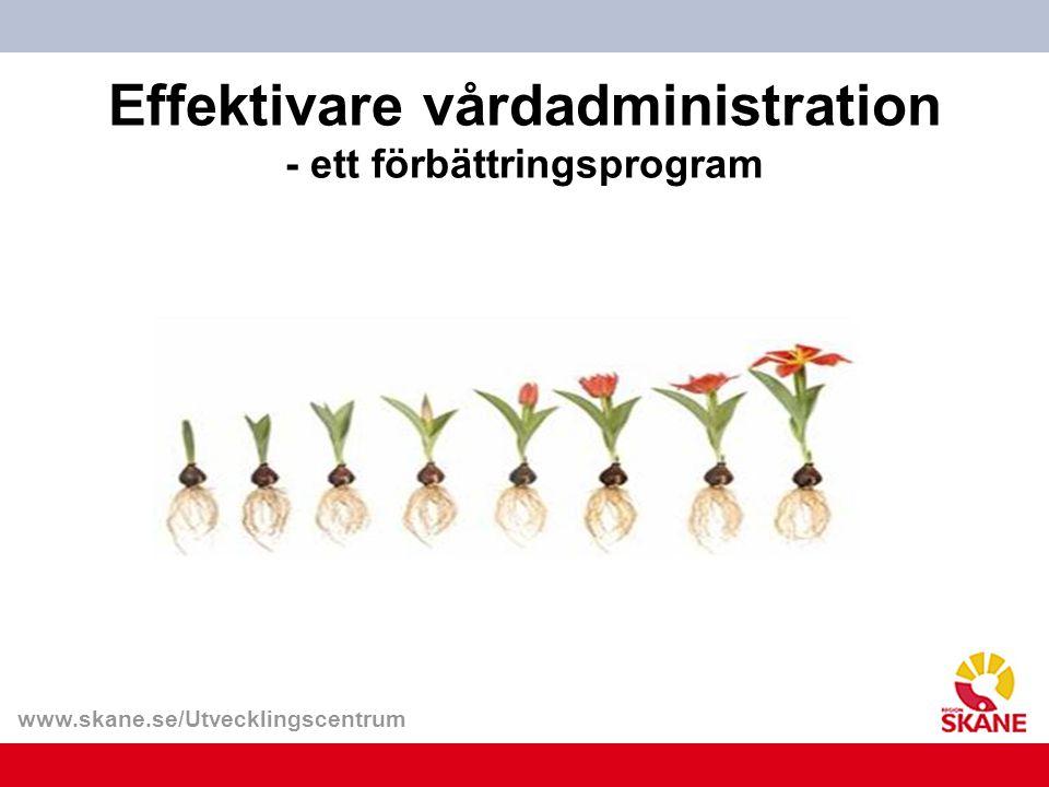 www.skane.se/Utvecklingscentrum Syfte och mål med programmet Skapa mer tid med patienterna genom att minska vårdpersonalens administrativa uppgifter.