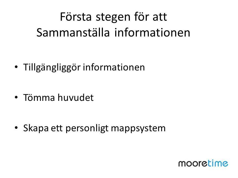 Första stegen för att Sammanställa informationen Tillgängliggör informationen Tömma huvudet Skapa ett personligt mappsystem