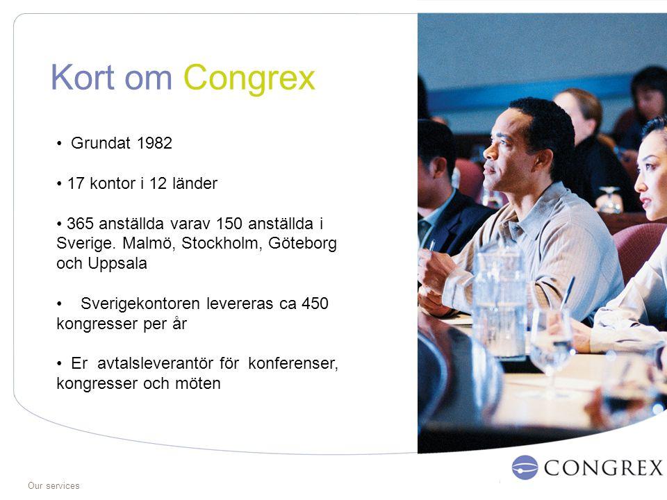 Our services Kort om Congrex Grundat 1982 17 kontor i 12 länder 365 anställda varav 150 anställda i Sverige.