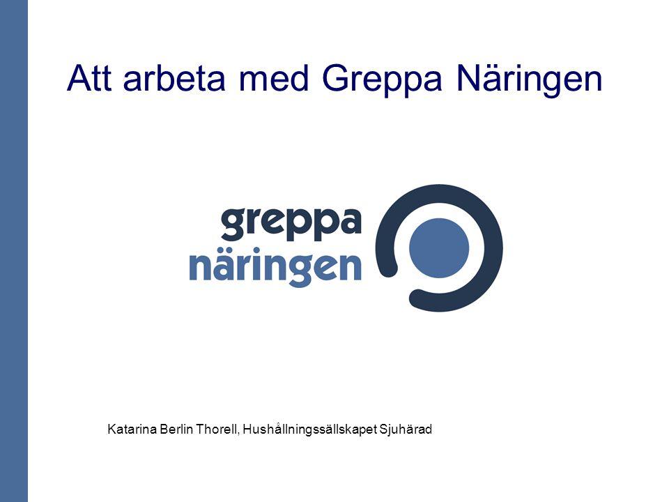 Att arbeta med Greppa Näringen Katarina Berlin Thorell, Hushållningssällskapet Sjuhärad