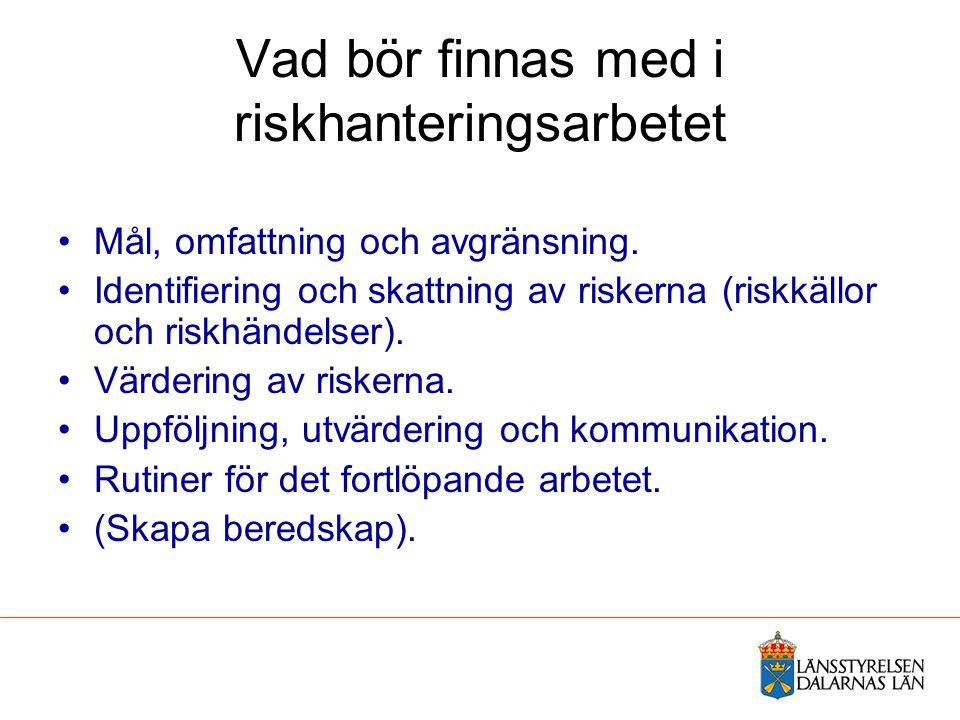 Vad bör finnas med i riskhanteringsarbetet Mål, omfattning och avgränsning. Identifiering och skattning av riskerna (riskkällor och riskhändelser). Vä