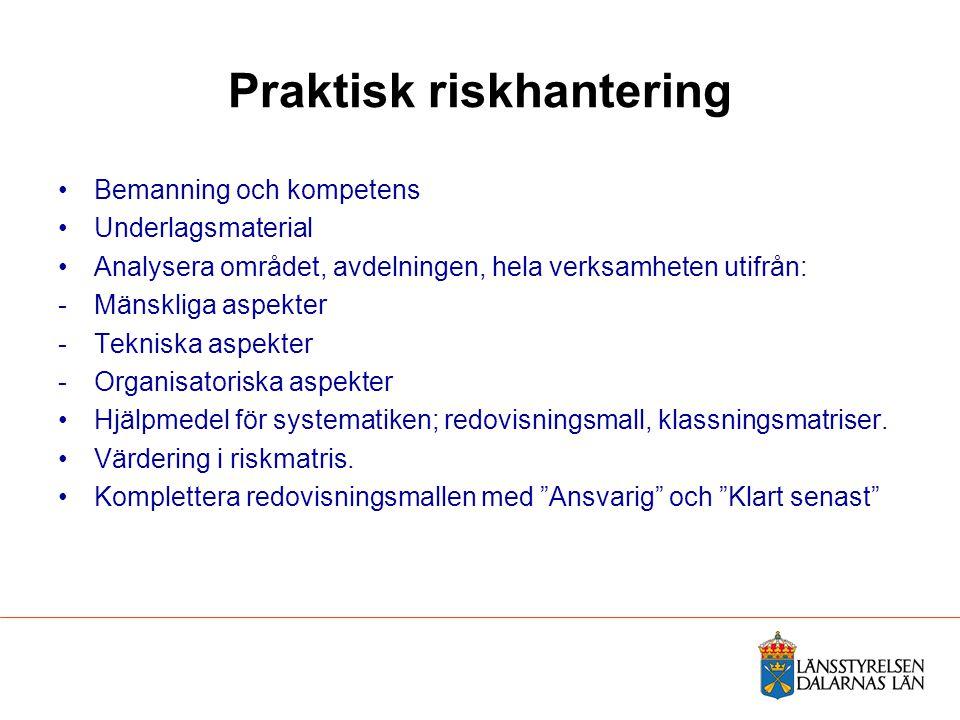 Praktisk riskhantering Bemanning och kompetens Underlagsmaterial Analysera området, avdelningen, hela verksamheten utifrån: -Mänskliga aspekter -Tekni