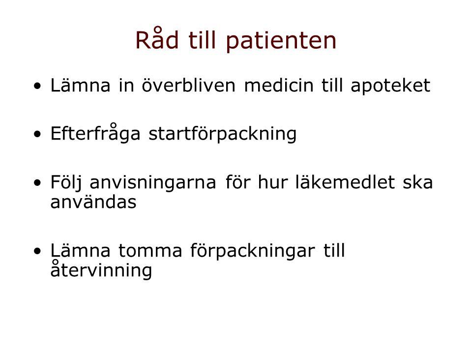 Råd till patienten Lämna in överbliven medicin till apoteket Efterfråga startförpackning Följ anvisningarna för hur läkemedlet ska användas Lämna tomm