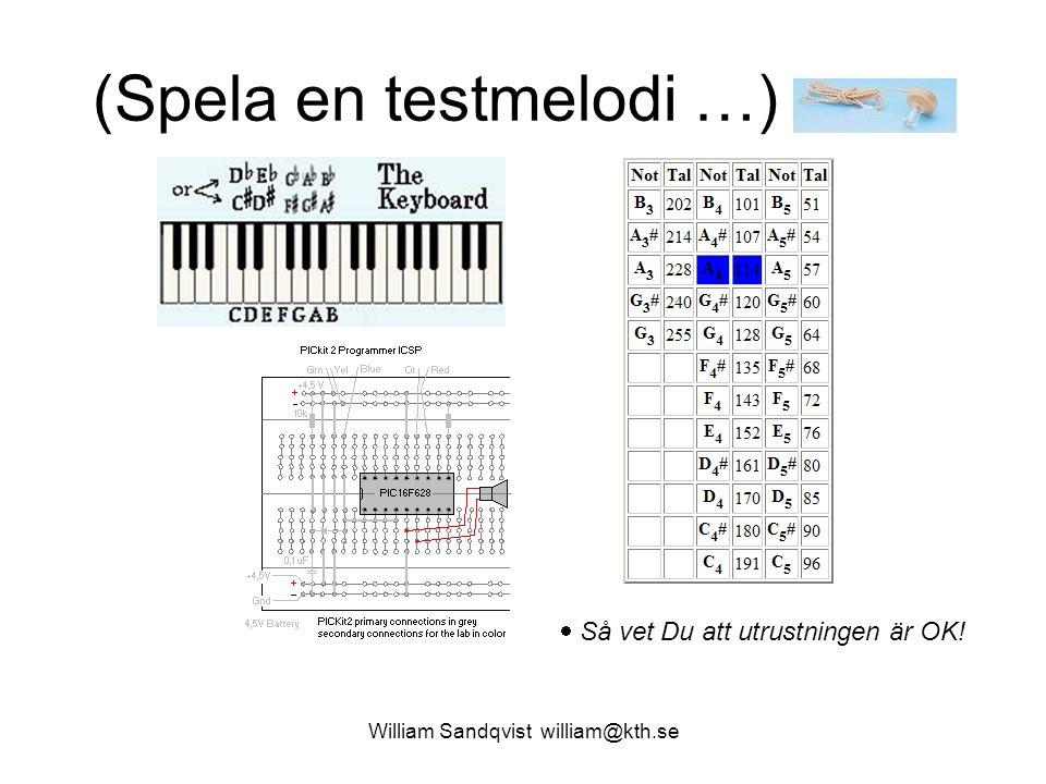 William Sandqvist william@kth.se (Spela en testmelodi …)  Så vet Du att utrustningen är OK!