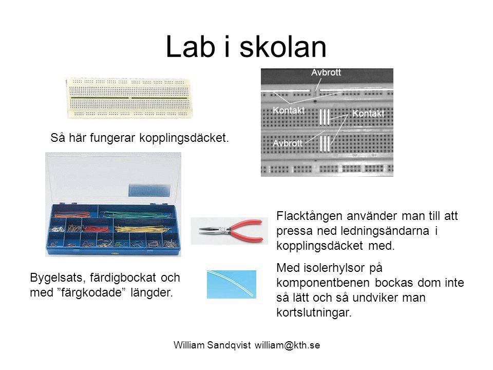 William Sandqvist william@kth.se Lab i skolan Så här fungerar kopplingsdäcket. Flacktången använder man till att pressa ned ledningsändarna i koppling