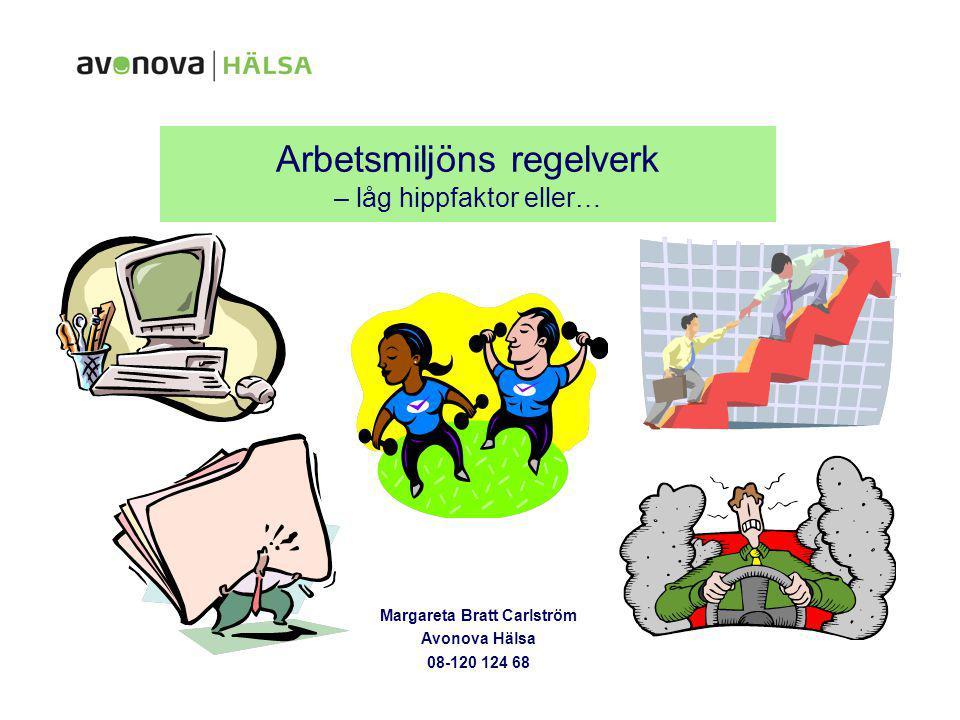Arbetsmiljöns regelverk – låg hippfaktor eller… Margareta Bratt Carlström Avonova Hälsa 08-120 124 68