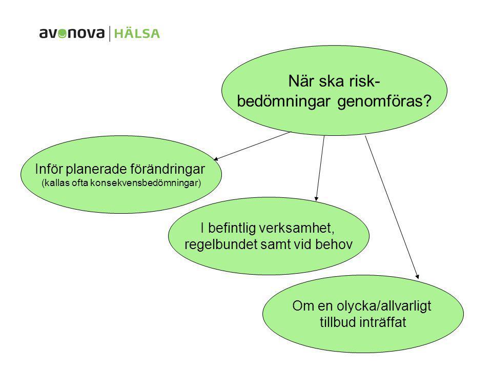 När ska risk- bedömningar genomföras? Inför planerade förändringar (kallas ofta konsekvensbedömningar) I befintlig verksamhet, regelbundet samt vid be