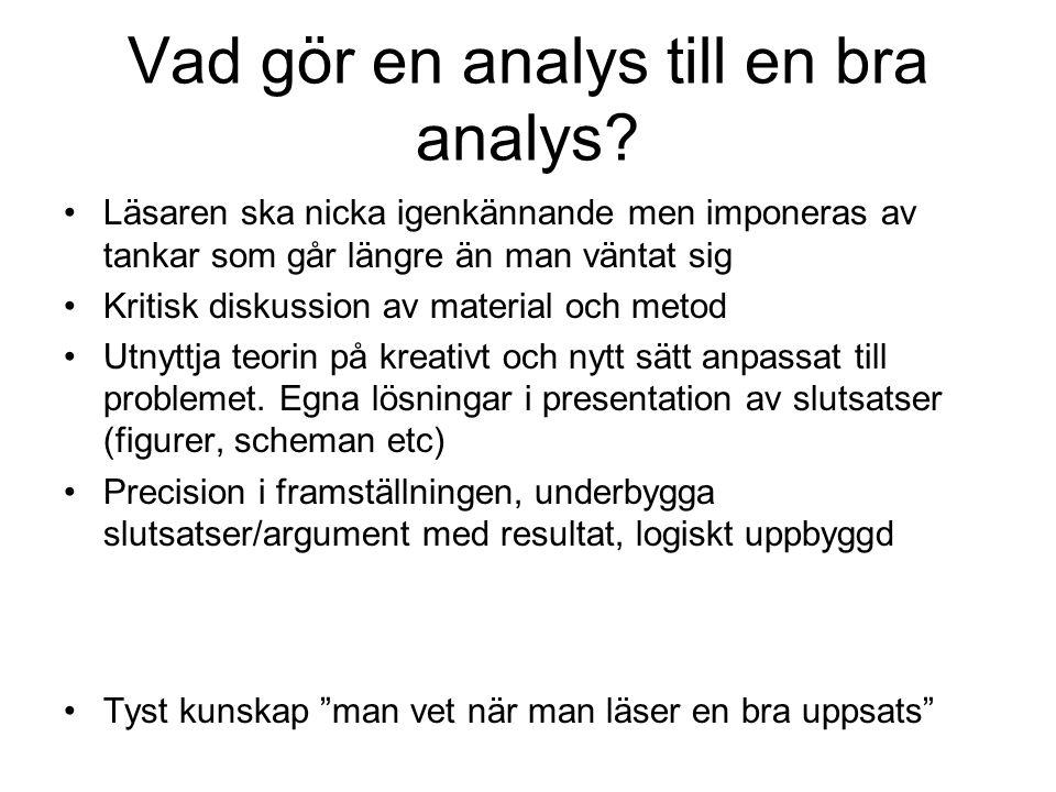 Vad gör en analys till en bra analys? Läsaren ska nicka igenkännande men imponeras av tankar som går längre än man väntat sig Kritisk diskussion av ma