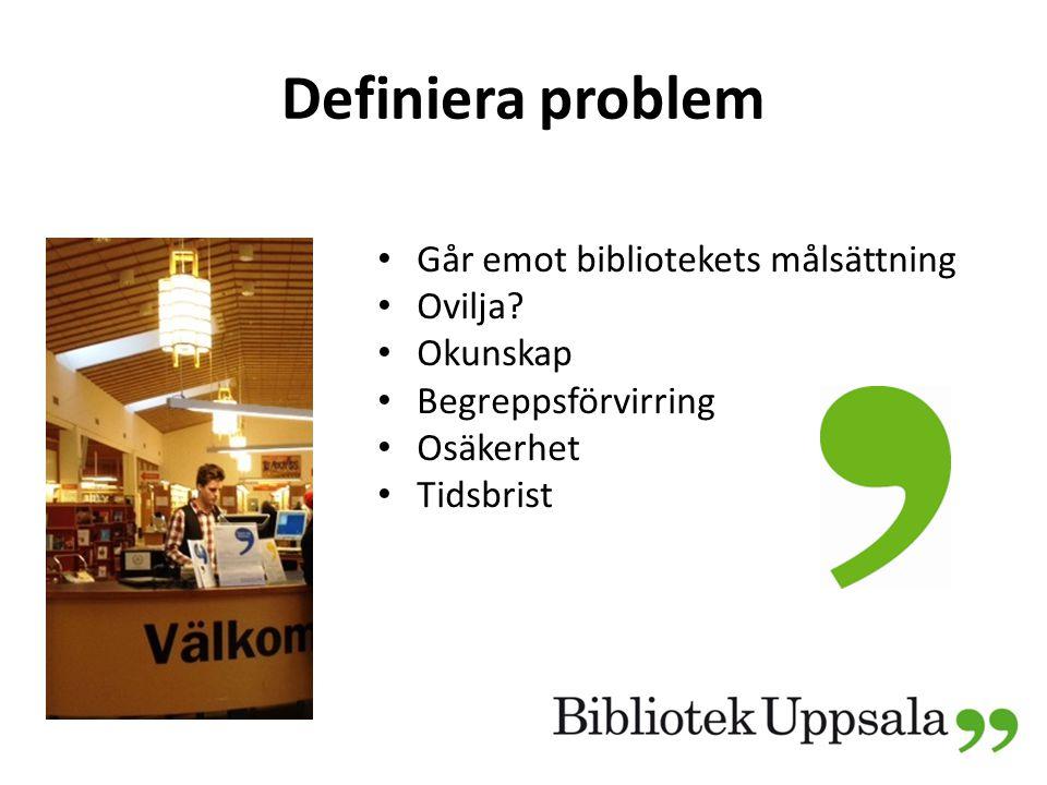 Definiera problem Går emot bibliotekets målsättning Ovilja.