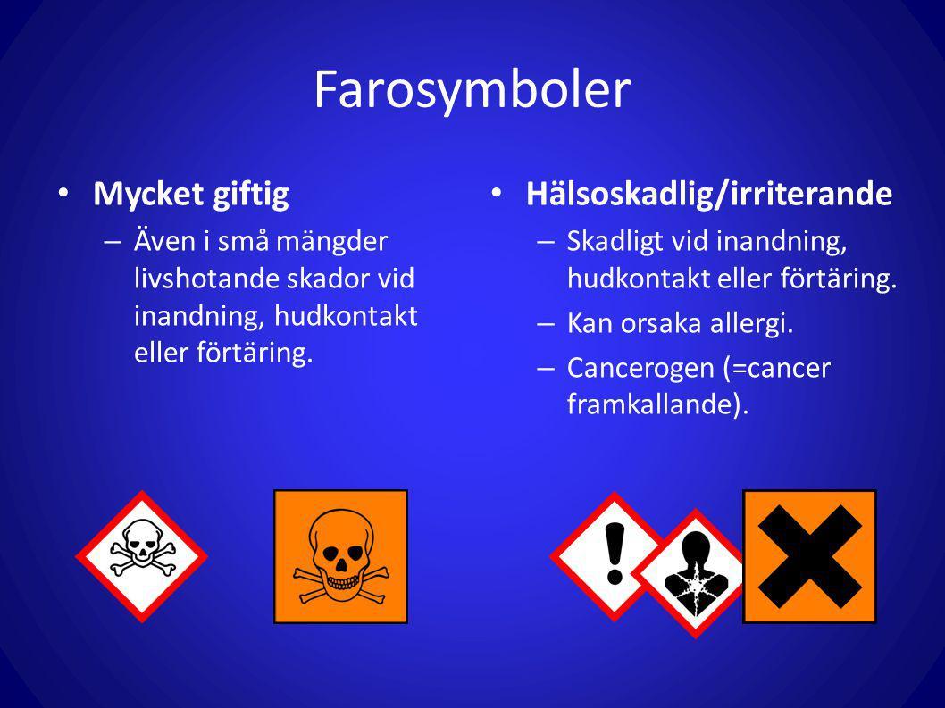 Farosymboler Mycket giftig – Även i små mängder livshotande skador vid inandning, hudkontakt eller förtäring. Hälsoskadlig/irriterande – Skadligt vid