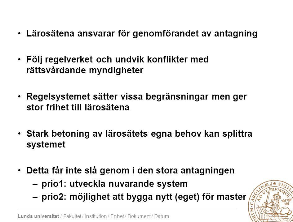 Lunds universitet / Fakultet / Institution / Enhet / Dokument / Datum Lärosätena ansvarar för genomförandet av antagning Följ regelverket och undvik k