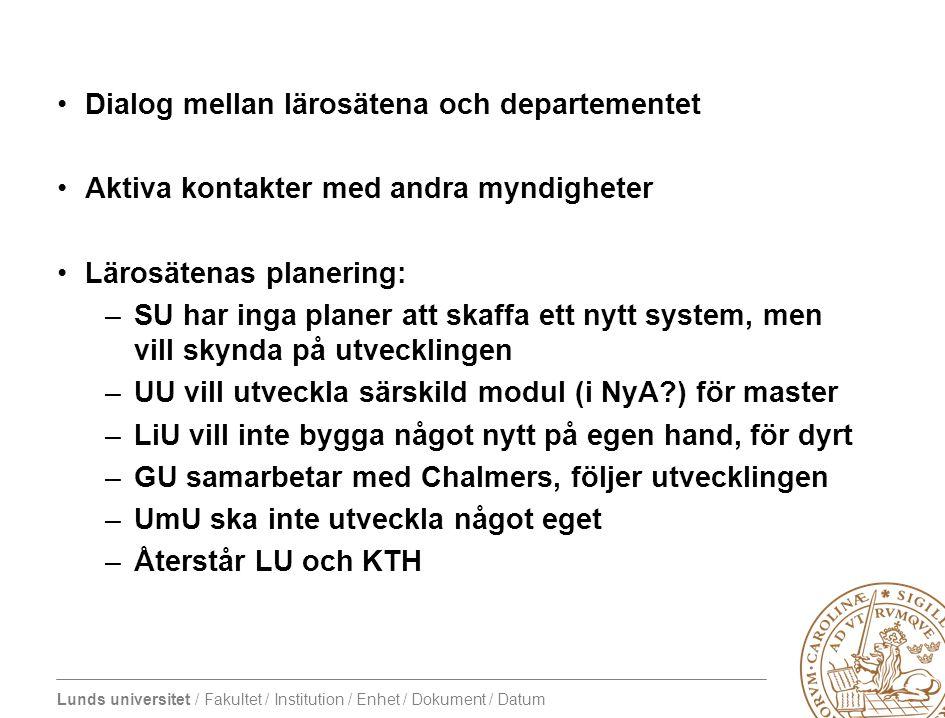 Lunds universitet / Fakultet / Institution / Enhet / Dokument / Datum Dialog mellan lärosätena och departementet Aktiva kontakter med andra myndighete