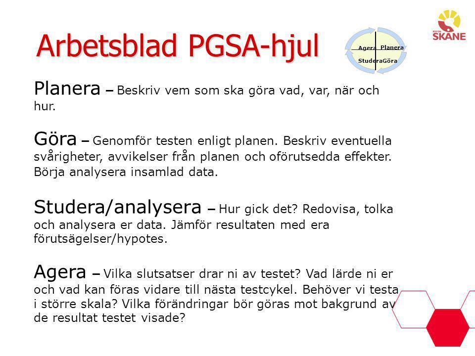 Agera Planera GöraStudera Arbetsblad PGSA-hjul Planera – Beskriv vem som ska göra vad, var, när och hur. Göra – Genomför testen enligt planen. Beskriv