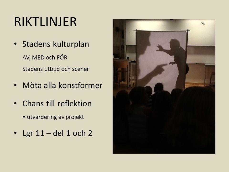 RIKTLINJER Stadens kulturplan AV, MED och FÖR Stadens utbud och scener Möta alla konstformer Chans till reflektion = utvärdering av projekt Lgr 11 – del 1 och 2