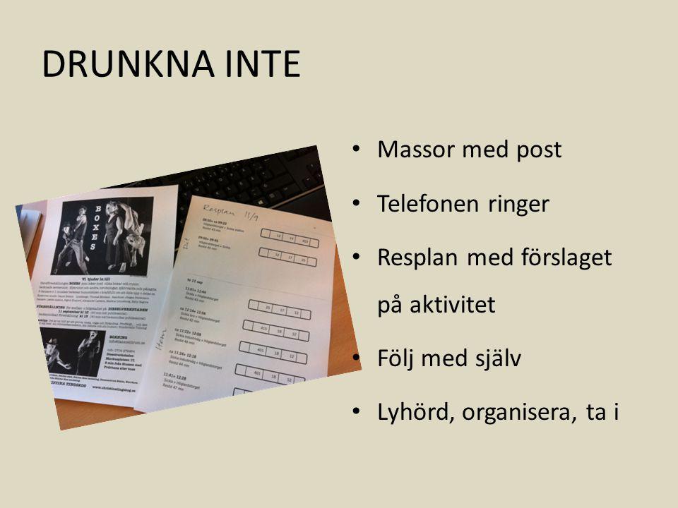 DRUNKNA INTE Massor med post Telefonen ringer Resplan med förslaget på aktivitet Följ med själv Lyhörd, organisera, ta i