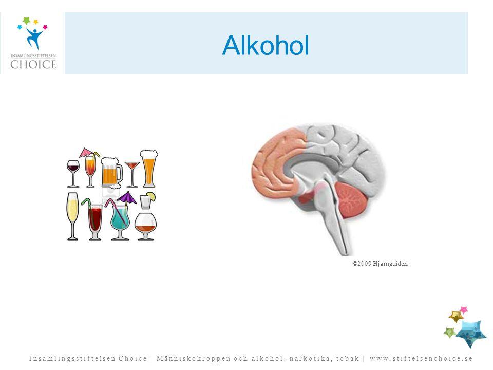 Insamlingsstiftelsen Choice | Människokroppen och alkohol, narkotika, tobak | www.stiftelsenchoice.se Alkohol ©2009 Hjärnguiden