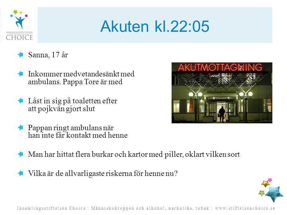 Insamlingsstiftelsen Choice | Människokroppen och alkohol, narkotika, tobak | www.stiftelsenchoice.se Akuten kl.22:05 Sanna, 17 år Inkommer medvetande