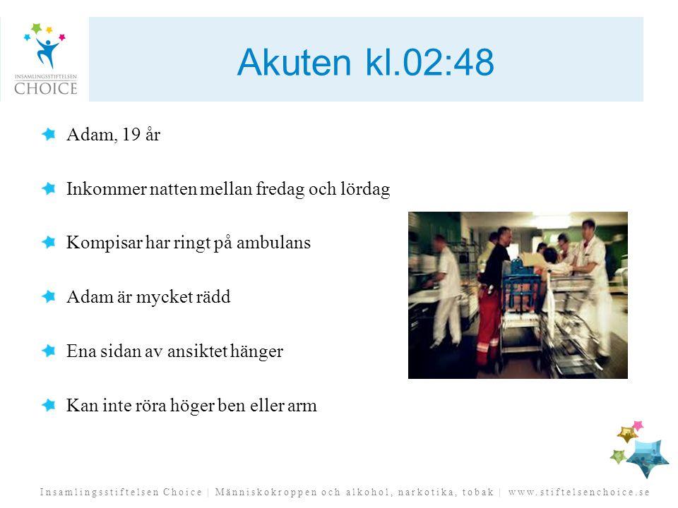 Insamlingsstiftelsen Choice | Människokroppen och alkohol, narkotika, tobak | www.stiftelsenchoice.se Akuten kl.02:48 Adam, 19 år Inkommer natten mell