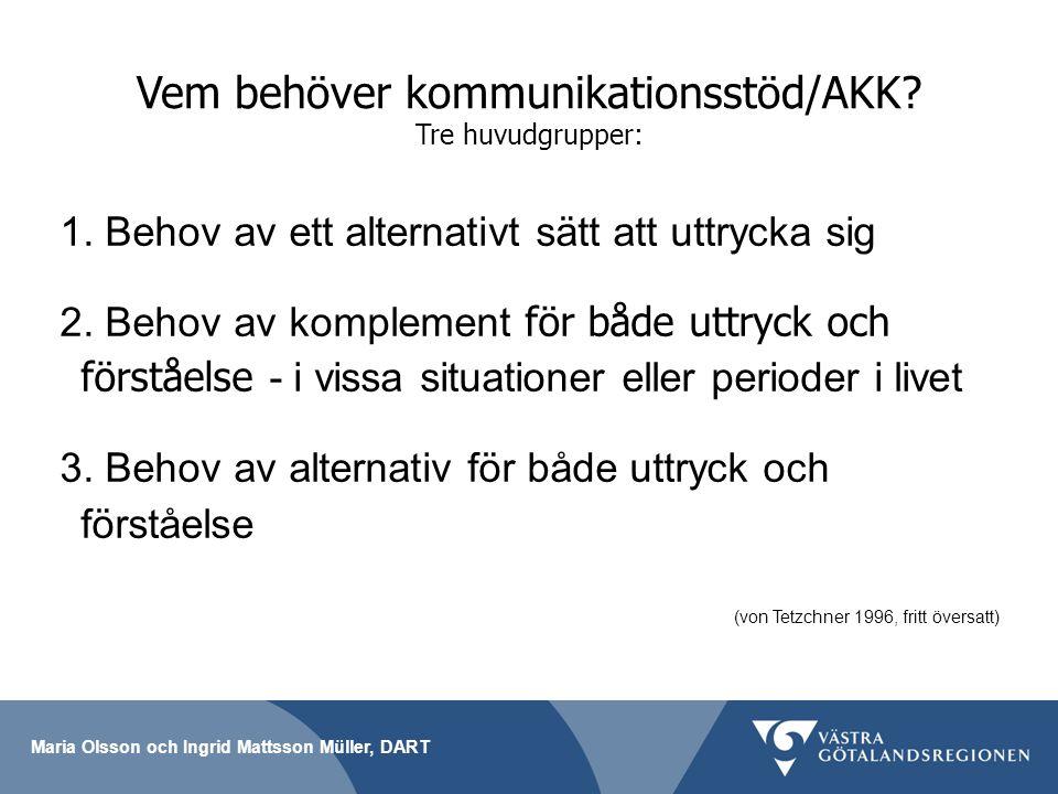 Maria Olsson och Ingrid Mattsson Müller, DART Vem behöver kommunikationsstöd/AKK? Tre huvudgrupper: 1. Behov av ett alternativt sätt att uttrycka sig