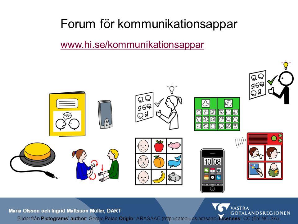 Maria Olsson och Ingrid Mattsson Müller, DART Forum för kommunikationsappar www.hi.se/kommunikationsappar Bilder från Pictograms' author: Sergio Palao