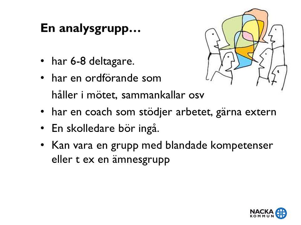 En analysgrupp… har 6-8 deltagare. har en ordförande som håller i mötet, sammankallar osv har en coach som stödjer arbetet, gärna extern En skolledare
