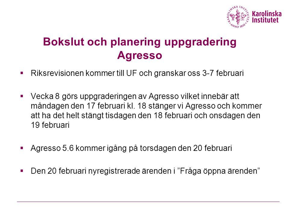 Bokslut och planering uppgradering Agresso  Riksrevisionen kommer till UF och granskar oss 3-7 februari  Vecka 8 görs uppgraderingen av Agresso vilket innebär att måndagen den 17 februari kl.