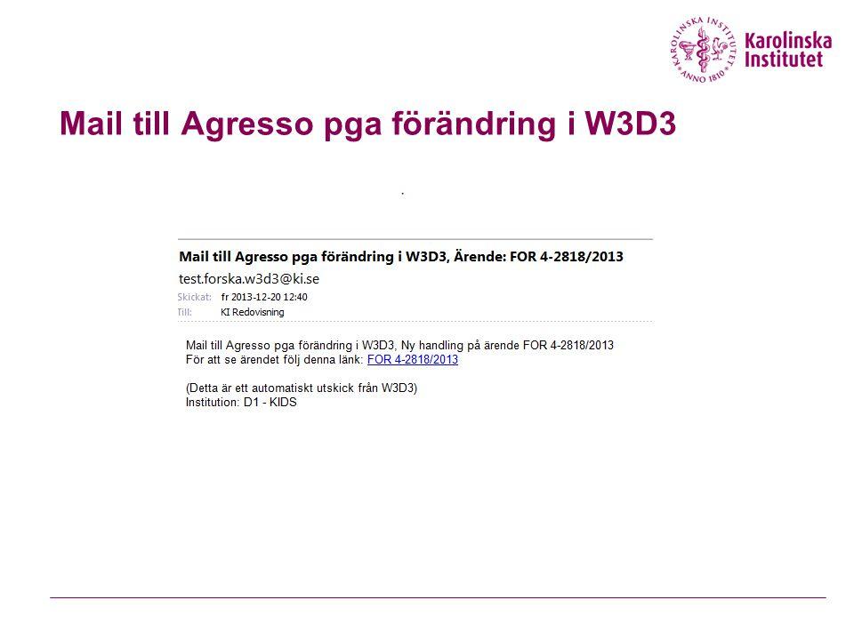 Mail till Agresso pga förändring i W3D3