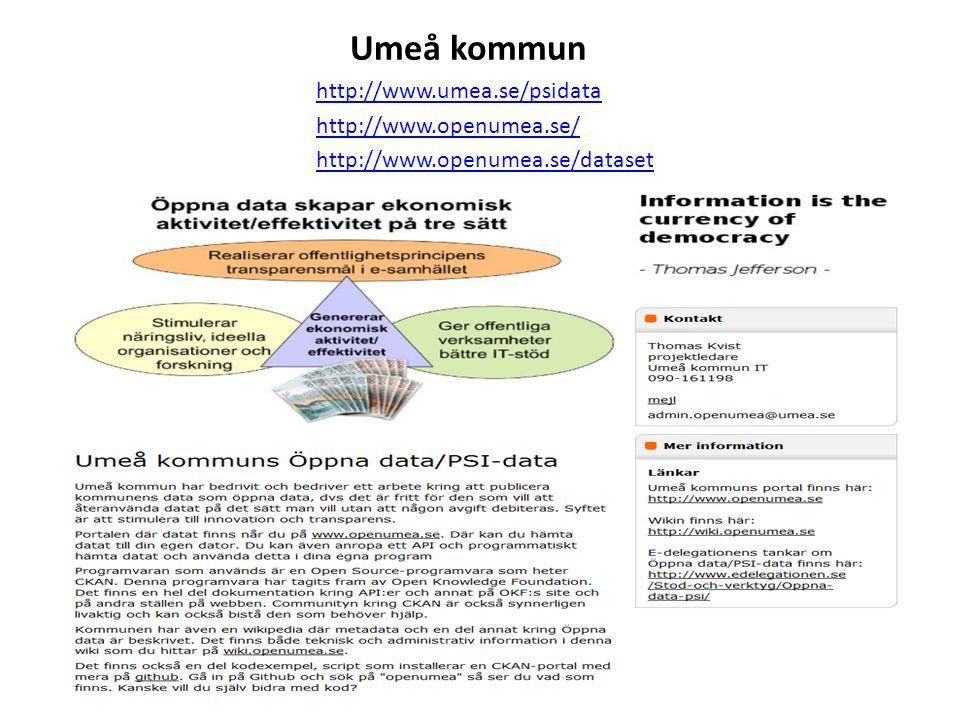 Umeå kommun http://www.umea.se/psidata http://www.openumea.se/ http://www.openumea.se/dataset
