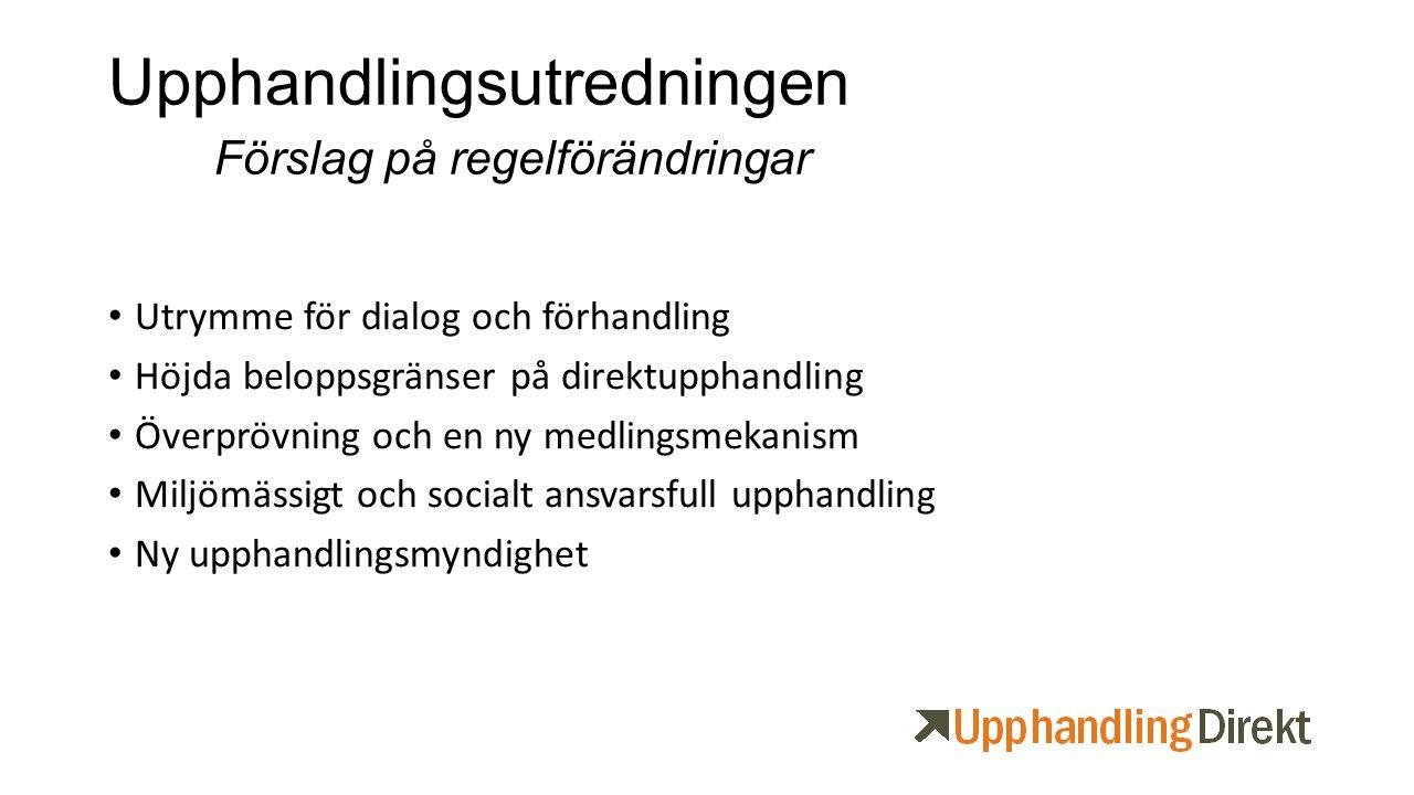 Upphandlingsutredningen Förslag på regelförändringar Utrymme för dialog och förhandling Höjda beloppsgränser på direktupphandling Överprövning och en