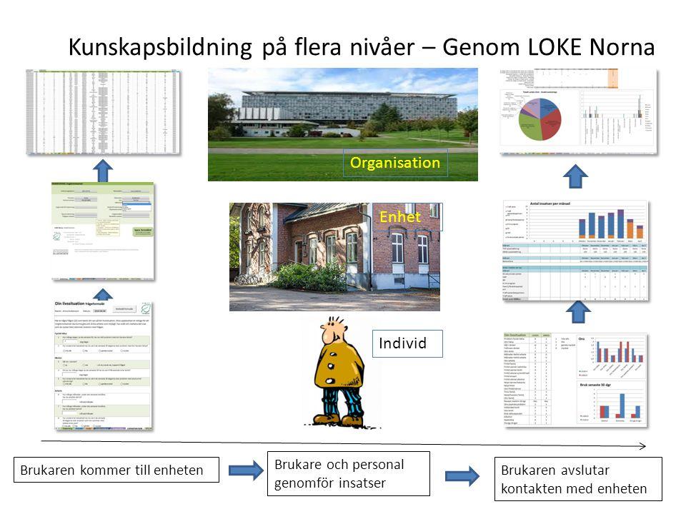 Kunskapsbildning på flera nivåer – Genom LOKE Norna Brukaren kommer till enhetenBrukaren avslutar kontakten med enheten Brukare och personal genomför insatser Individ Enhet Organisation