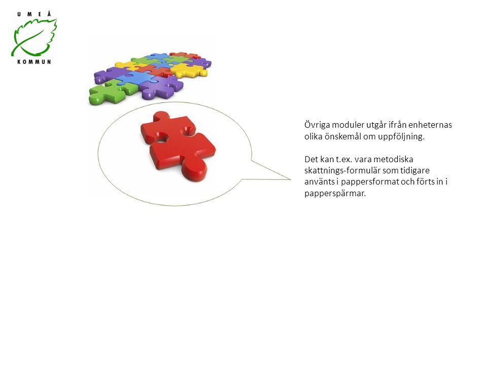 Övriga moduler utgår ifrån enheternas olika önskemål om uppföljning. Det kan t.ex. vara metodiska skattnings-formulär som tidigare använts i pappersfo