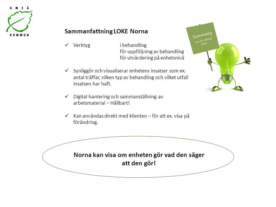 Sammanfattning LOKE Norna Verktyg i behandling för uppföljning av behandling för utvärdering på enhetsnivå Synliggör och visualiserar enhetens insatser som ex.