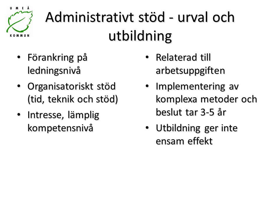 Administrativt stöd - urval och utbildning Förankring på ledningsnivå Förankring på ledningsnivå Organisatoriskt stöd (tid, teknik och stöd) Organisat