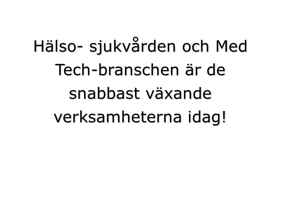 Hälso- sjukvården och Med Tech-branschen är de snabbast växande verksamheterna idag!