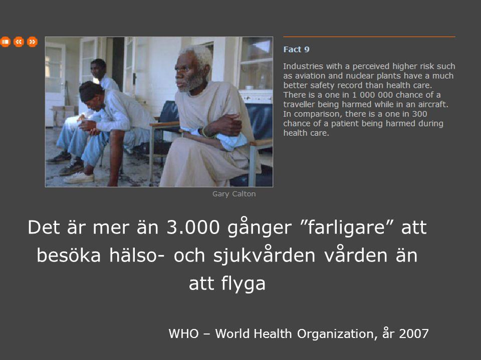 Mars 2008 GIDAC AB BZB CareSystems AB 16 Det är mer än 3.000 gånger farligare att besöka hälso- och sjukvården vården än att flyga WHO – World Health Organization, år 2007