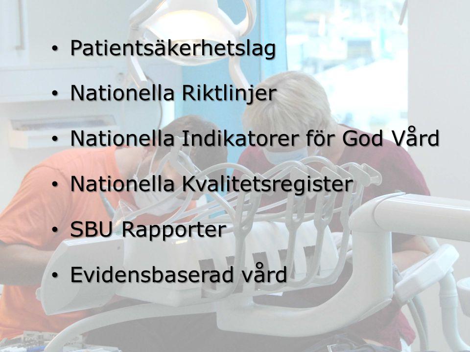 Patientsäkerhetslag Patientsäkerhetslag Nationella Riktlinjer Nationella Riktlinjer Nationella Indikatorer för God Vård Nationella Indikatorer för God