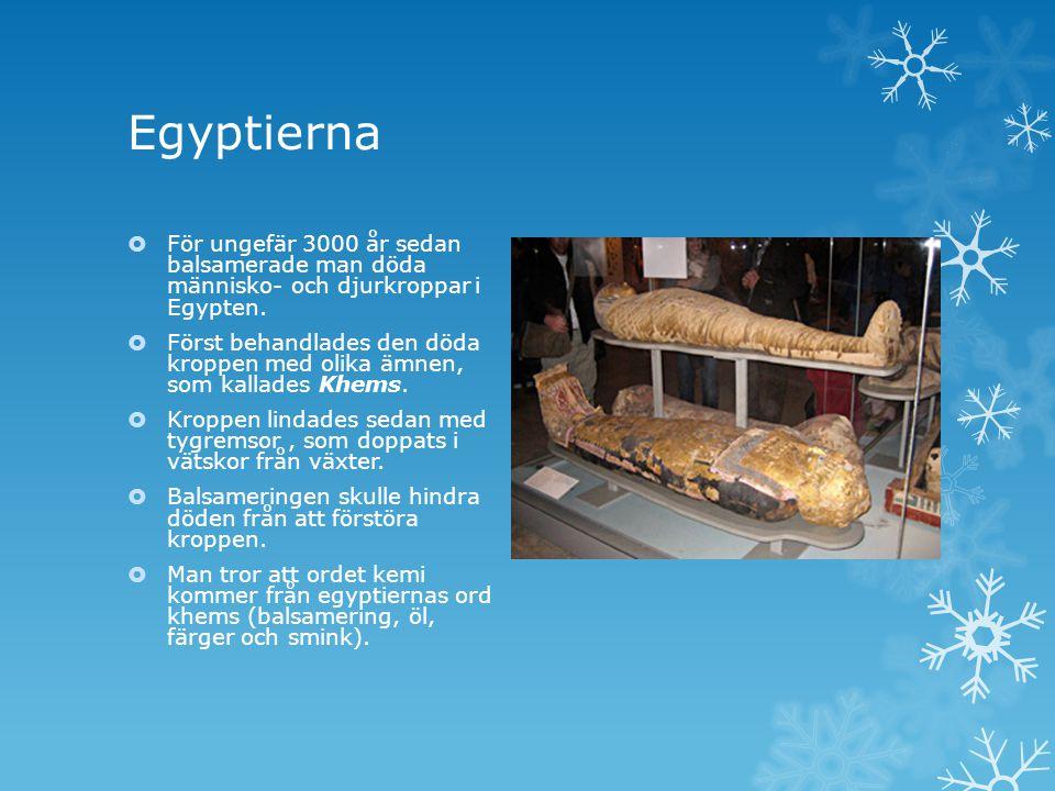 Egyptierna  För ungefär 3000 år sedan balsamerade man döda människo- och djurkroppar i Egypten.  Först behandlades den döda kroppen med olika ämnen,